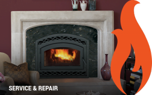 """Fireplace with text """"service and repair"""" overlaid"""