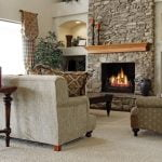 Stone fireplace in a living room