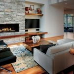 Modern Living Room with a brick fireplace